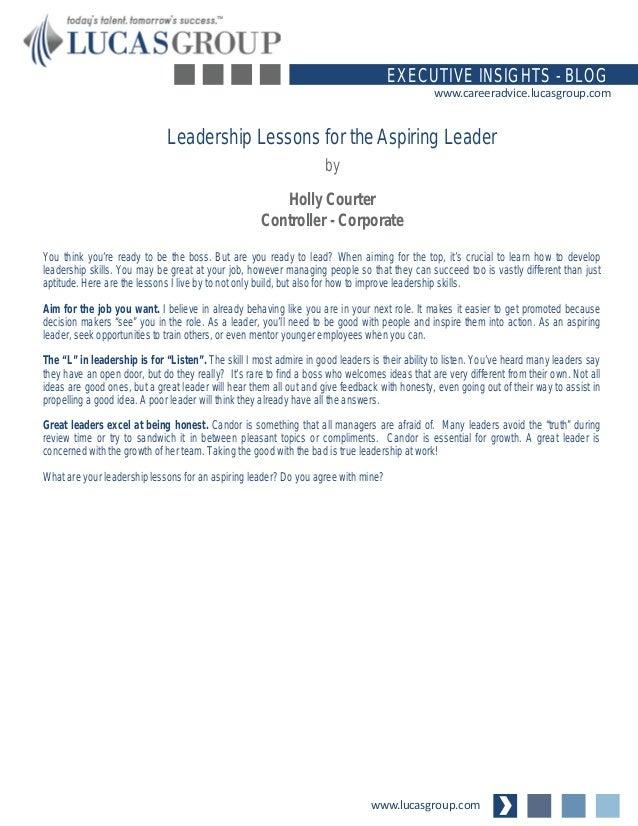 www.lucasgroup.com EXECUTIVE INSIGHTS - BLOG www.careeradvice.lucasgroup.com You think you're ready to be the boss. But ar...