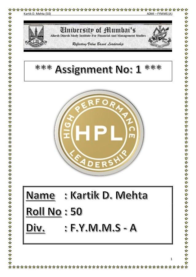 Kartik D. Mehta (50) ADMI – FYMMS (A)  1
