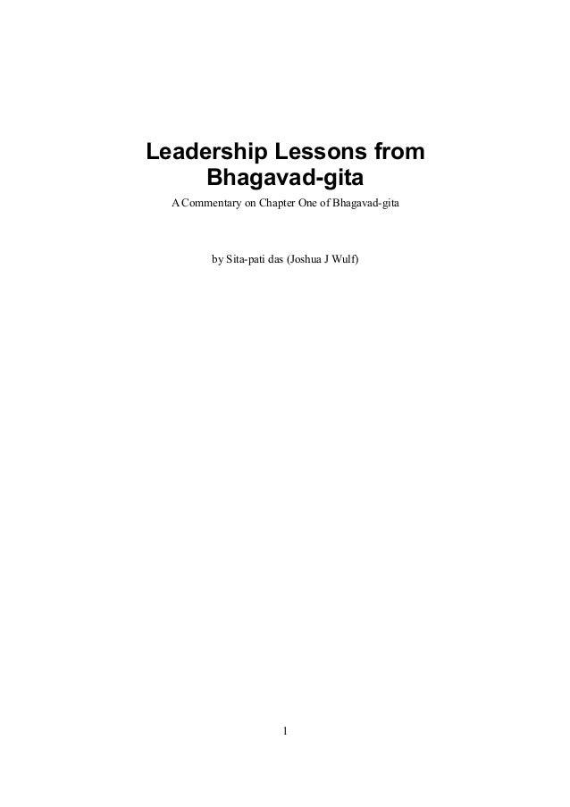 Leadership Lessons from     Bhagavad-gita  A Commentary on Chapter One of Bhagavad-gita         by Sita-pati das (Joshua J...