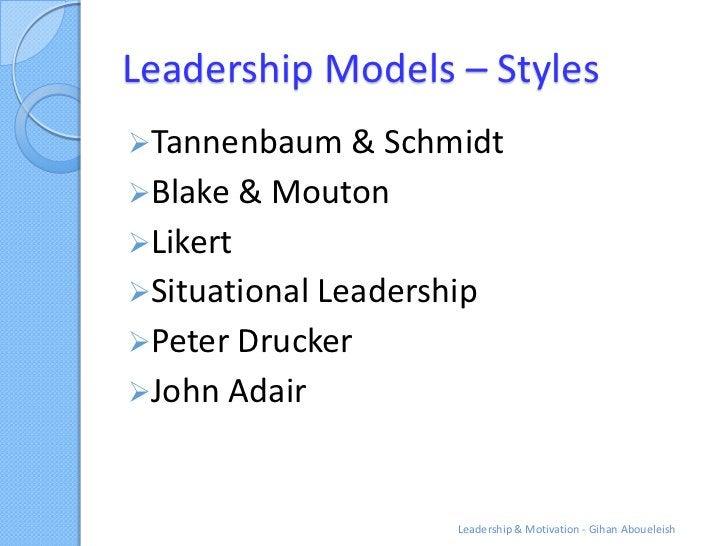 Leadership Models – StylesTannenbaum & SchmidtBlake & MoutonLikertSituational LeadershipPeter DruckerJohn Adair     ...