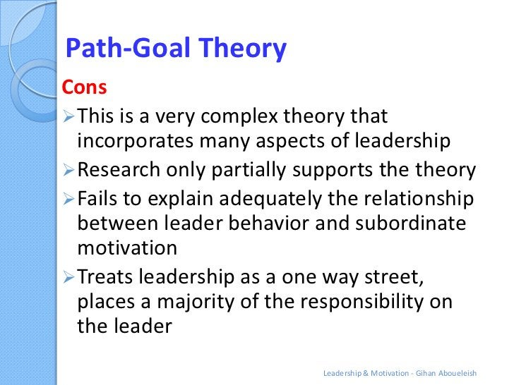 Path-Goal TheoryCons This is a very complex theory that  incorporates many aspects of leadership Research only partially...