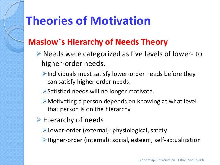 Theories of MotivationMaslow's Hierarchy of Needs Theory  Needs were categorized as five levels of lower- to  higher-orde...