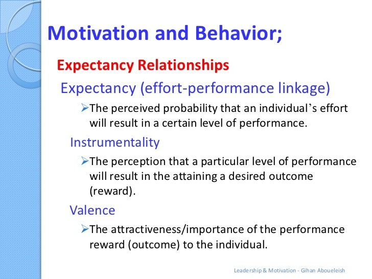 Motivation and Behavior;Expectancy RelationshipsExpectancy (effort-performance linkage)   The perceived probability that ...