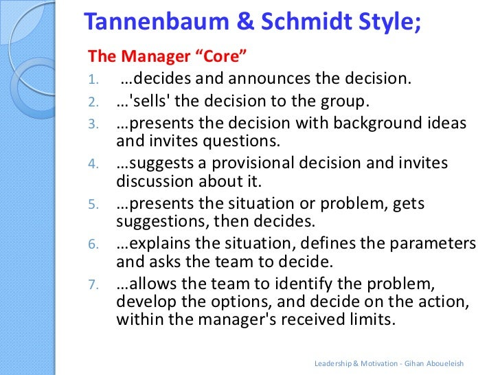 """Tannenbaum & Schmidt Style;The Manager """"Core""""1. …decides and announces the decision.2. …sells the decision to the group.3...."""