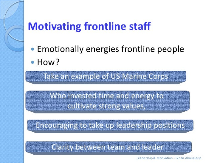 Motivating frontline staff Emotionally energies frontline people How?      Take an example of US Marine Corps       Who ...