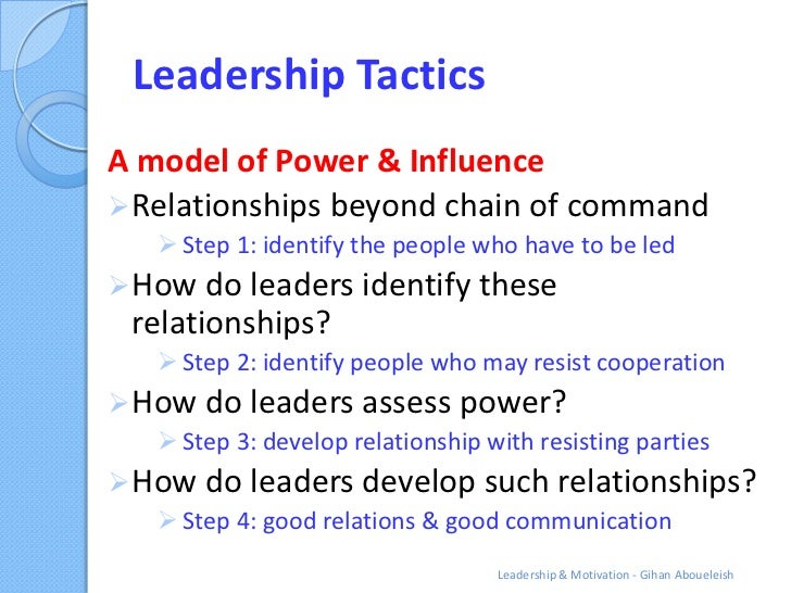 Leadership TacticsA model of Power & Influence Relationships beyond chain of command    Step 1: identify the people who ...