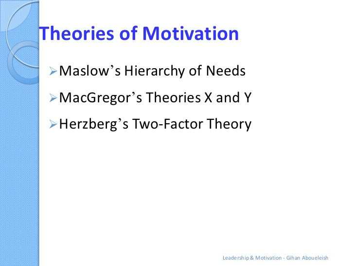 """Theories of Motivation Maslow""""s Hierarchy of Needs MacGregor""""s Theories X and Y Herzberg""""s Two-Factor Theory           ..."""