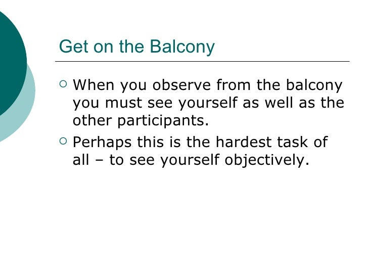 Get on the Balcony <ul><li>When you observe from the balcony you must see yourself as well as the other participants. </li...