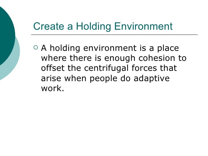 Create a Holding Environment <ul><li>A holding environment is a place where there is enough cohesion to offset the centrif...