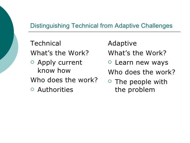Distinguishing Technical from Adaptive Challenges <ul><li>Technical </li></ul><ul><li>What's the Work? </li></ul><ul><li>A...