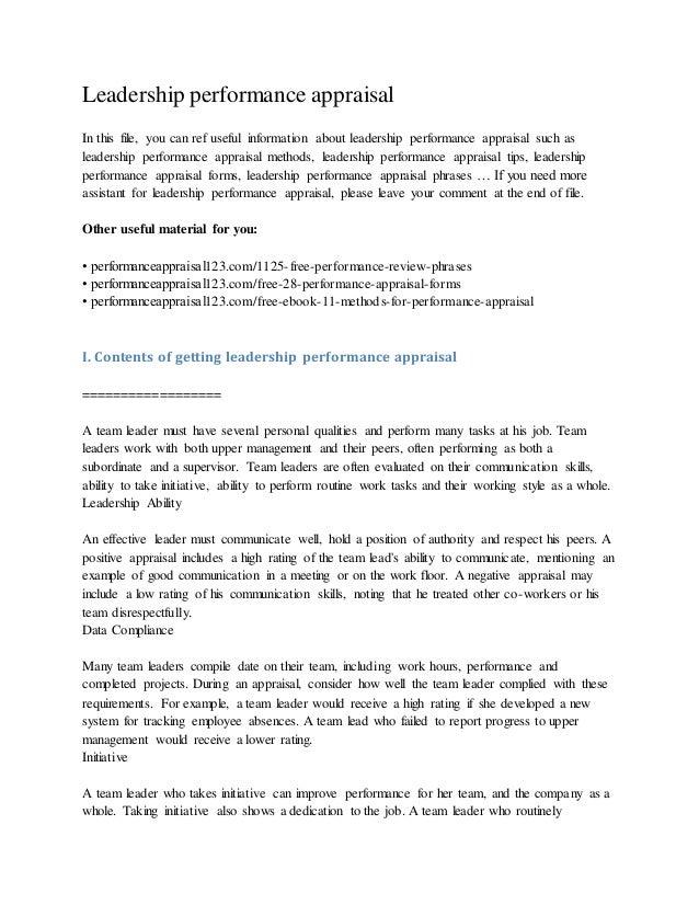 leadership-performance-appraisal-1-638 Team Performance Essment Examples on