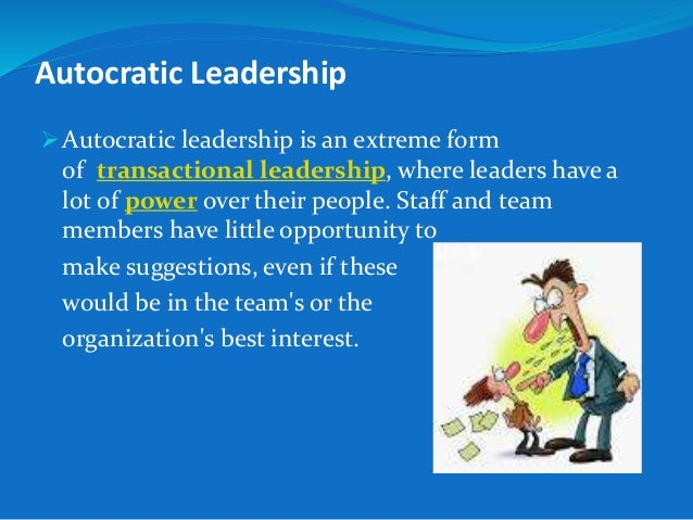 authoritarian leadership style definition Autocratic leadership style is a classical leadership approach that functions by commanding workers, without providing them explanations or including them in the decision making process a critique of the autocratic leadership style reveals that it brings forth some advantages such as getting things done.