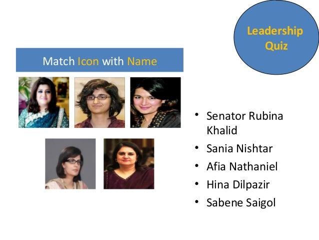 Match Icon with Name  Leadership  Quiz  • Senator Rubina  Khalid  • Sania Nishtar  • Afia Nathaniel  • Hina Dilpazir  • Sa...
