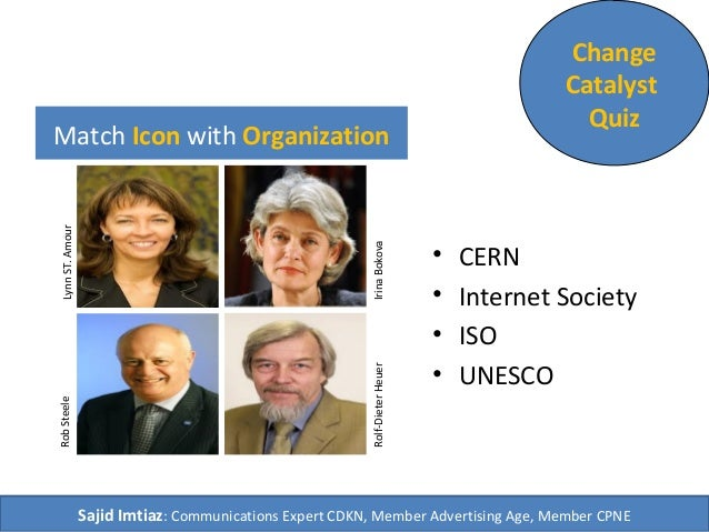 Match Icon with Organization • CERN • Internet Society • ISO • UNESCO Change Catalyst Quiz Sajid Imtiaz: Communications Ex...