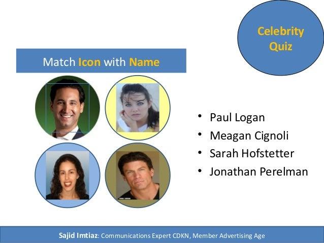Match Icon with Name • Paul Logan • Meagan Cignoli • Sarah Hofstetter • Jonathan Perelman Celebrity Quiz Sajid Imtiaz: Com...