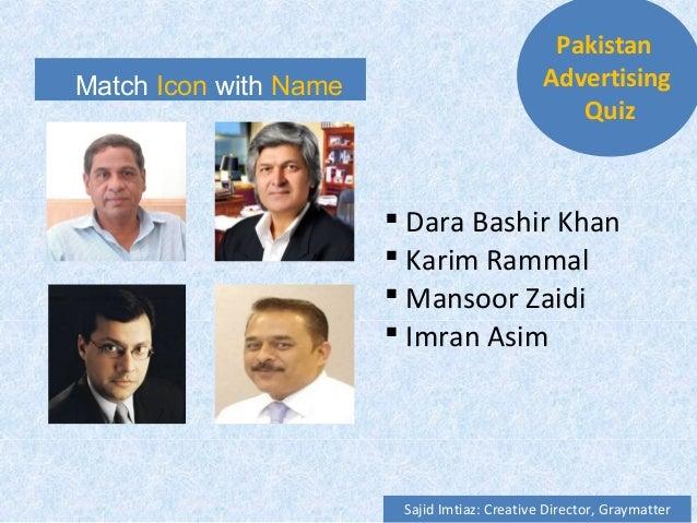 Match Icon with Name  Dara Bashir Khan  Karim Rammal  Mansoor Zaidi  Imran Asim Pakistan Advertising Quiz Sajid Imtiaz...