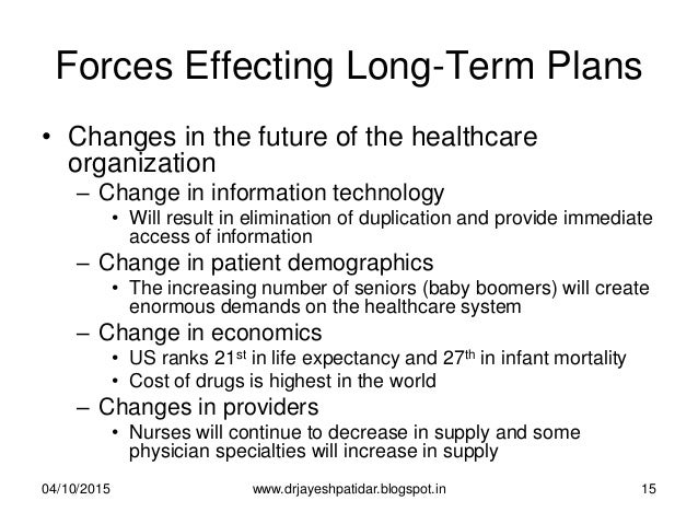 Forces Effecting Long-Term Plans • Changes in the future of the healthcare organization – Change in information technology...