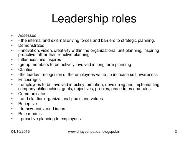 Role of a Leader