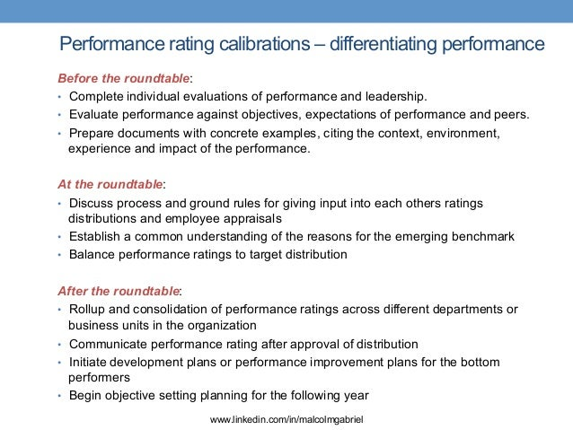 Calibrating performance ratings for Performance objective template
