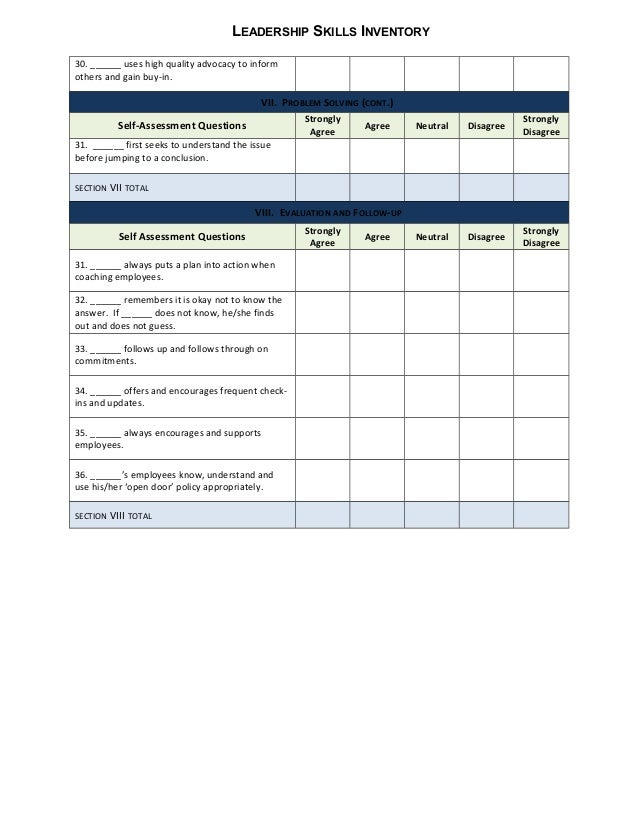 Leadership skills 360 inventory General – Skills Inventory Template