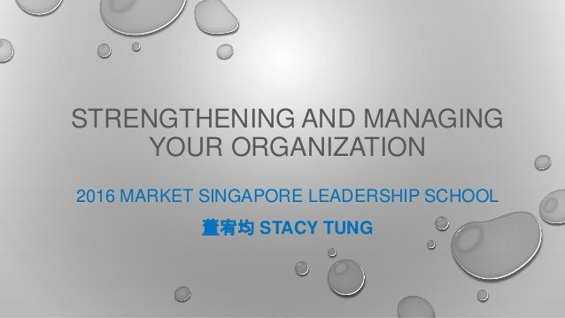 STRENGTHENING AND MANAGING YOUR ORGANIZATION 2016 MARKET SINGAPORE LEADERSHIP SCHOOL 董宥均 STACY TUNG