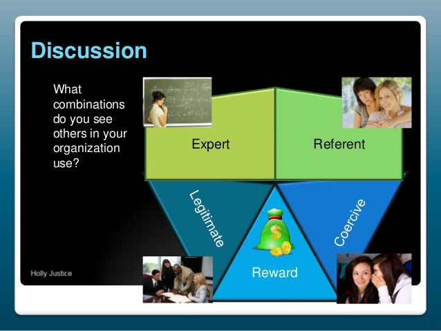 Discussion What combinations do you see others in your organization use?  Expert  Referent  Reward