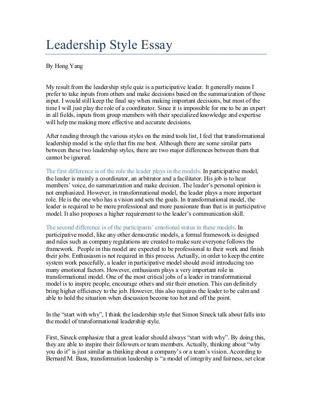 Democratic Leadership Essay Sample