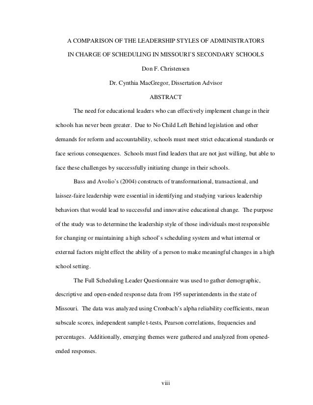 Dissertation abstracts educational leadership