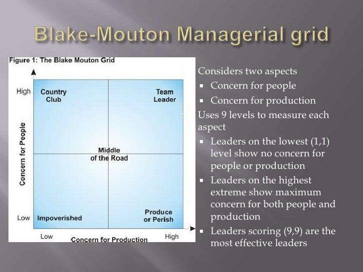 Blake-Mouton Managerial grid<br />Considers two aspects<br />Concern for people<br />Concern for production<br />Uses 9 le...