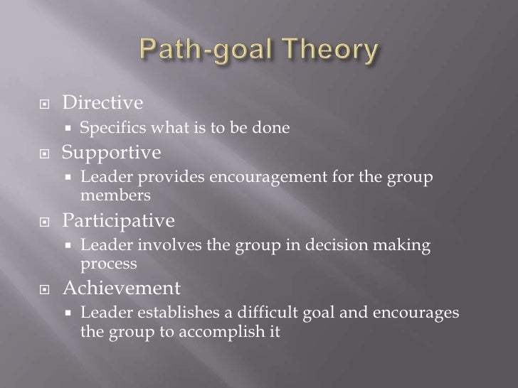Path-goal Theory<br />Directive<br />Specifics what is to be done<br />Supportive<br />Leader provides encouragement for t...