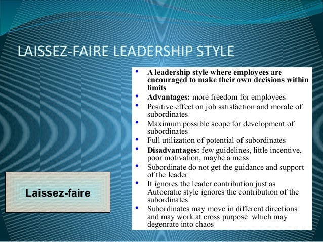 Comparison of leadership styles to different factors