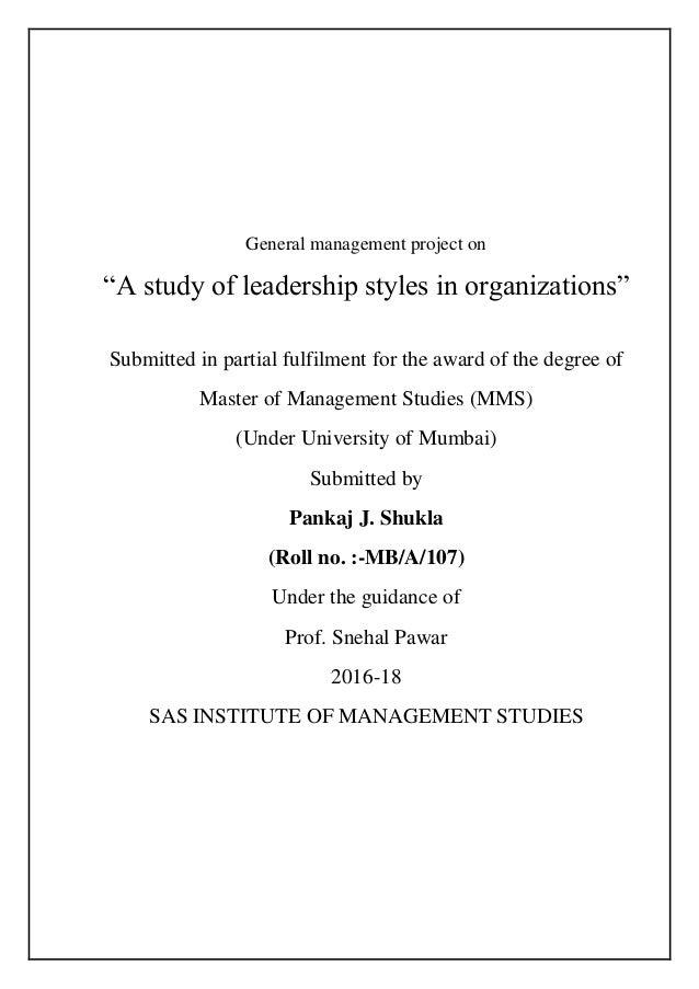 Leadership styles in organizations