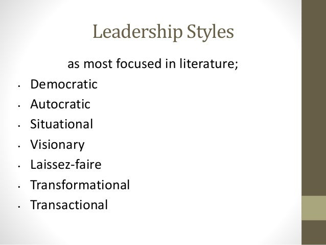 liturature review transactional vs transformational leadership Leadership style and emotional intelligence literature review: leadership: transactional vs transformational leadership: definitions as a generic term, leadership undoubtedly encompasses a wide range of interpretations, and literary.