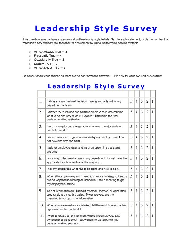 Leadership style survey