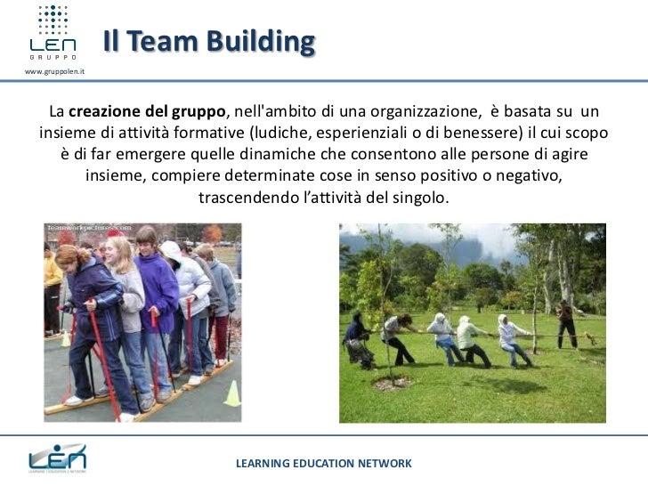 Il Team Buildingwww.gruppolen.it     La creazione del gruppo, nellambito di una organizzazione, è basata su un   insieme d...