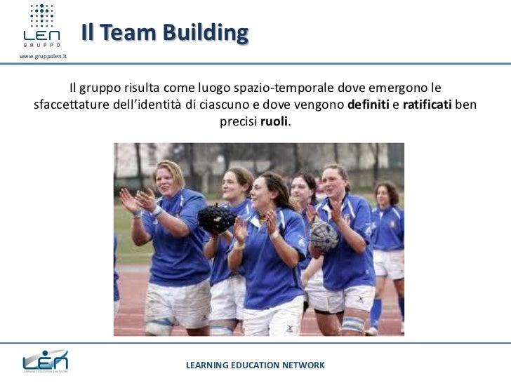 Il Team Buildingwww.gruppolen.it          Il gruppo risulta come luogo spazio-temporale dove emergono le    sfaccettature ...