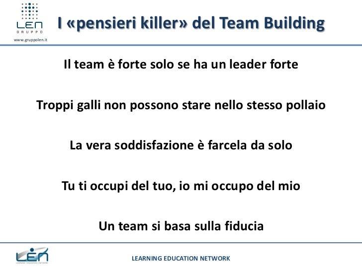 I «pensieri killer» del Team Buildingwww.gruppolen.it                   Il team è forte solo se ha un leader forte        ...