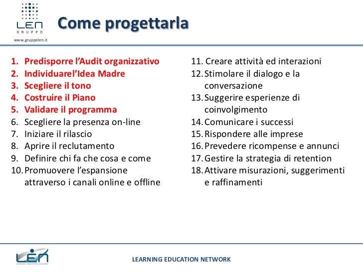 Come progettarlawww.gruppolen.it1. Predisporre l'Audit organizzativo          11. Creare attività ed interazioni2. Individ...