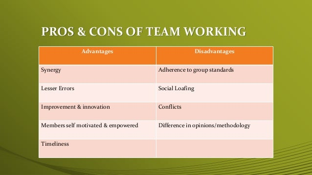 team dynamics disadvantages Improving group, organizational or team dynamics when conflict occurs i plead with euodia and i plead with syntyche to agree with each other in the lord.