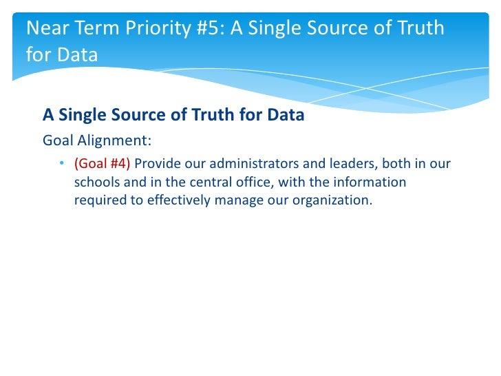Near Term Priority #5: A Single Source of Truthfor Data A Single Source of Truth for Data Goal Alignment:   • (Goal #4) Pr...