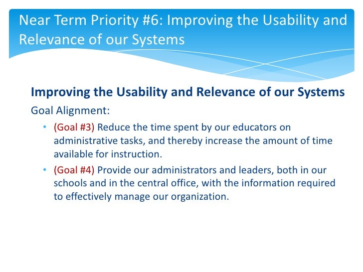 Near Term Priority #6: Improving the Usability andRelevance of our Systems Improving the Usability and Relevance of our Sy...