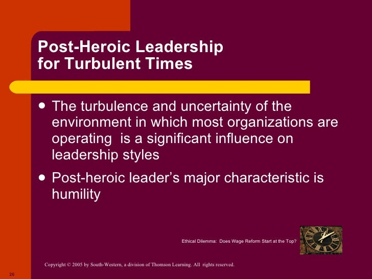 post heroic leadership Participative leadership theories suggest that the ideal leadership style is one that takes the input of others into account these leaders encourage participation and contributions from group members and help group members feel more relevant and committed to the decision-making process.