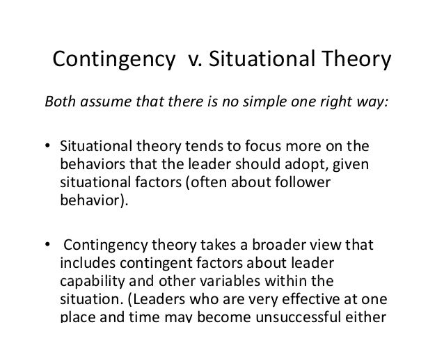 The argument of contingency theories