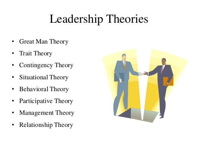 Leadership Theories • Great Man Theory • Trait Theory • Contingency Theory • Situational Theory • Behavioral Theory • Part...