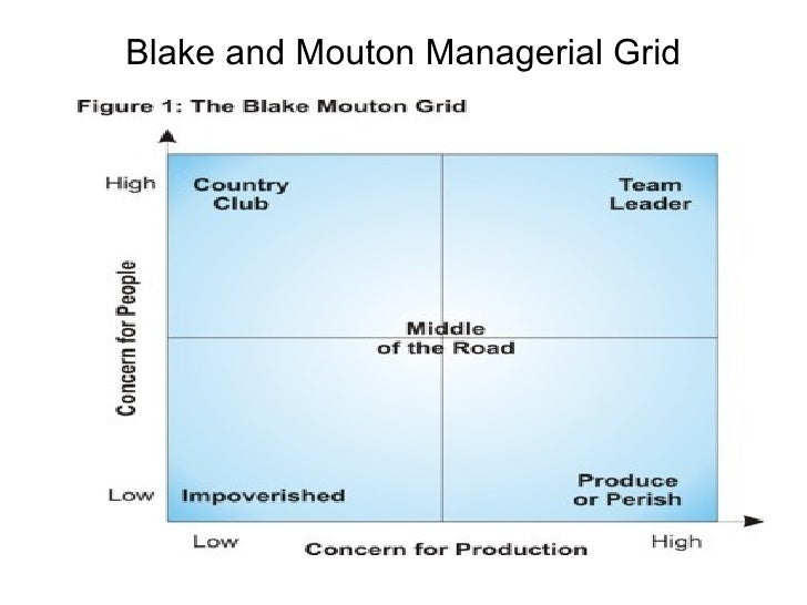 blake and mouton leadership grid The managerial grid model (1964) is a behavioural leadership model developed   managerial grid, blake and mouton, change management,change managers.