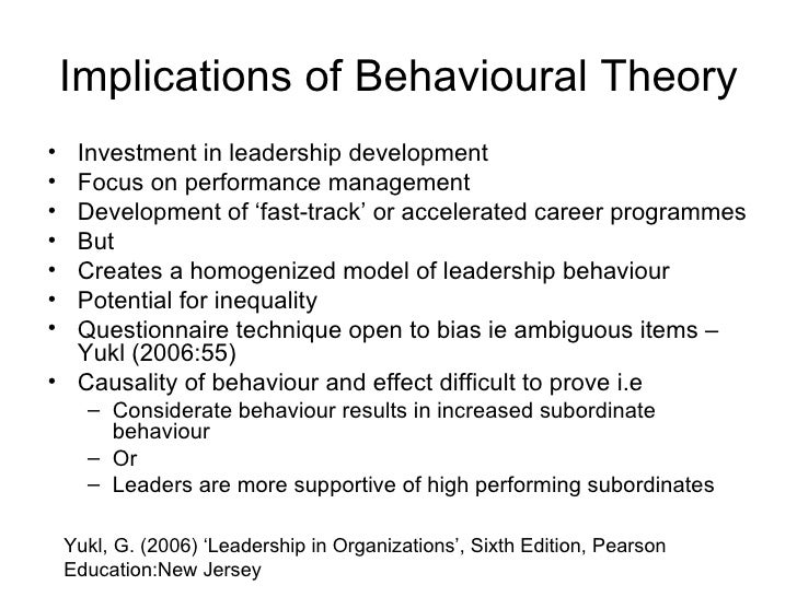 advantages and disadvantages of behavioural leadership theory