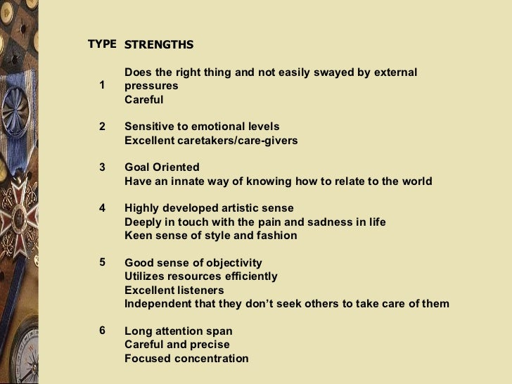 TYPE 1 2 3 4 5 6 STRENGTHS Does the right thing and not easily swayed by external pressures Careful Sensitive to emotional...