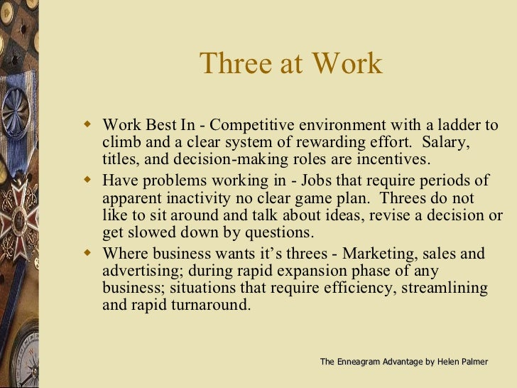 Three at Work <ul><li>Work Best In - Competitive environment with a ladder to climb and a clear system of rewarding effort...