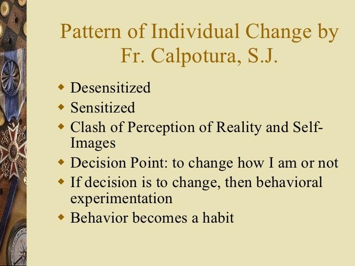 Pattern of Individual Change by Fr. Calpotura, S.J. <ul><li>Desensitized </li></ul><ul><li>Sensitized </li></ul><ul><li>Cl...