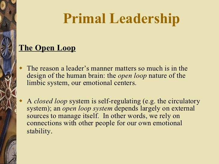 Primal Leadership  <ul><li>The Open Loop </li></ul><ul><li>The reason a leader's manner matters so much is in the design o...